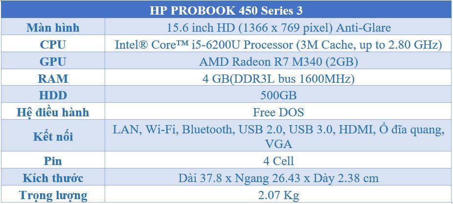 Cấu hình HP ProBook 450 G3