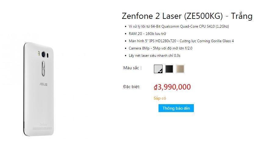 Giá Asus Zenfone 2 Selfie