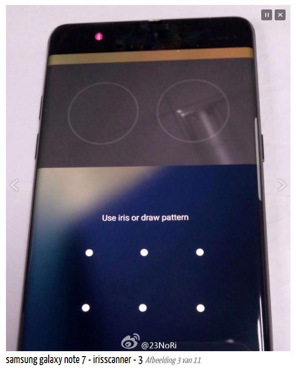 Rò rỉ màn hình quét mống mắt của Galaxy Note 7 7