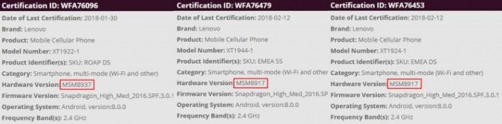 Thông số của Smartphone Moto G6 series