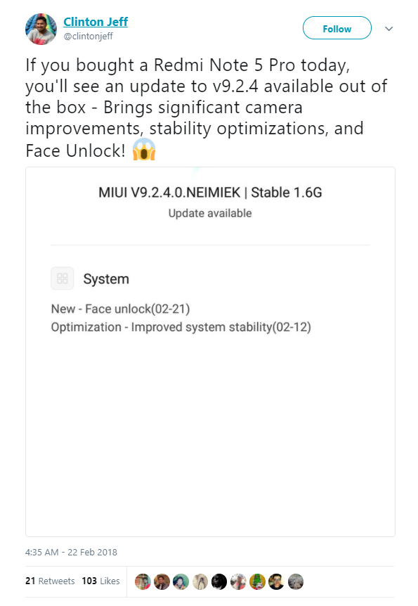 Face Unlock trên Xiaomi Redmi Note 5 Pro