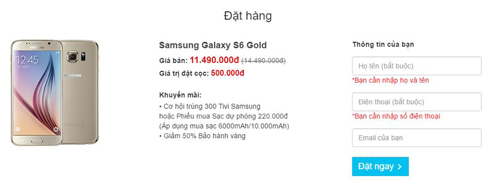 Đặt hàng Galaxy S6