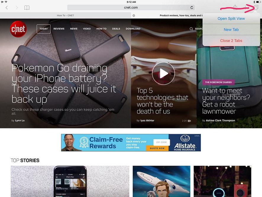 Hướng dẫn xem cùng lúc 2 tab trong Safari trên iPad