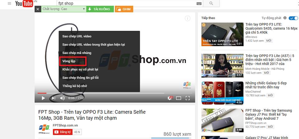 Kích hoạt tính năng lặp lại mặc định của Youtube