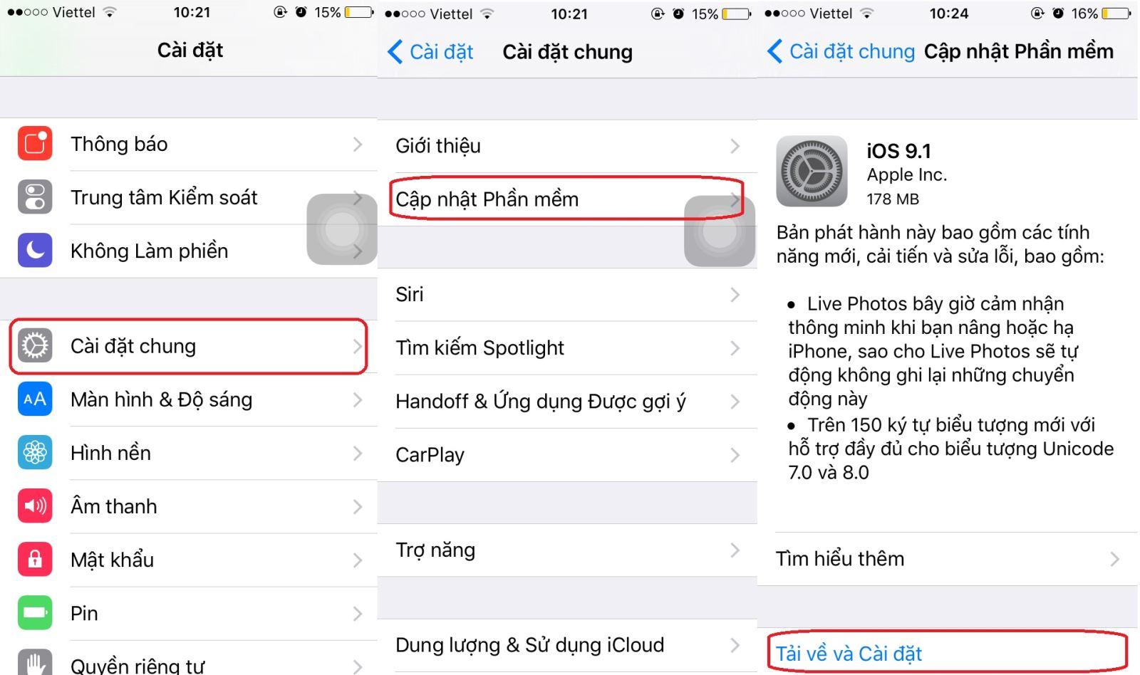 Cập nhật iOS 9.1 thông qua OTA
