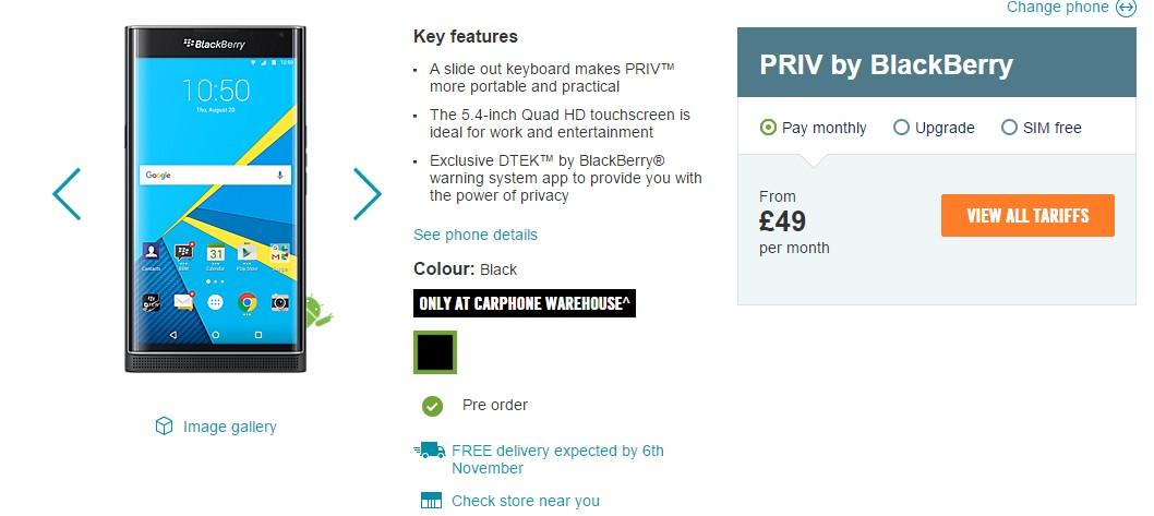 Blackberry Priv cho phép đặt hàng trước tại Anh
