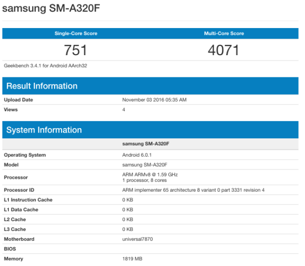 Galaxy A3 2017 tiếp tục rò rỉ cấu hình, điểm số sức mạnh trên GeekBench