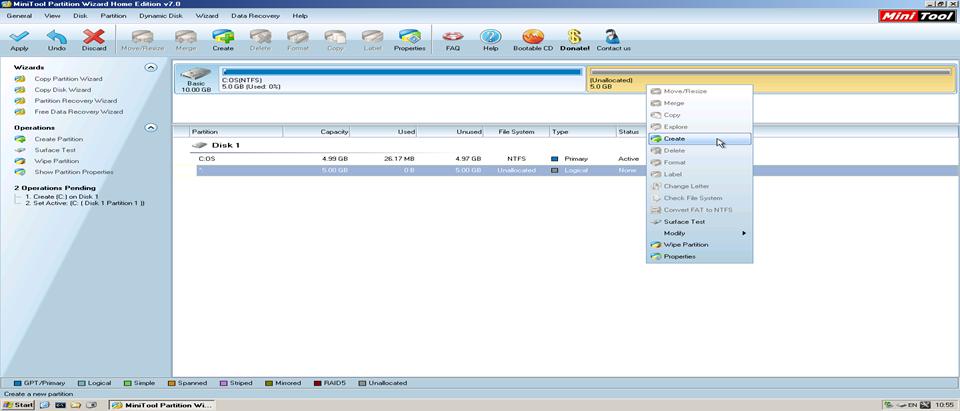 Hướng dẫn chia ổ đĩa chi tiết bằng phần mềm Partition Wizard