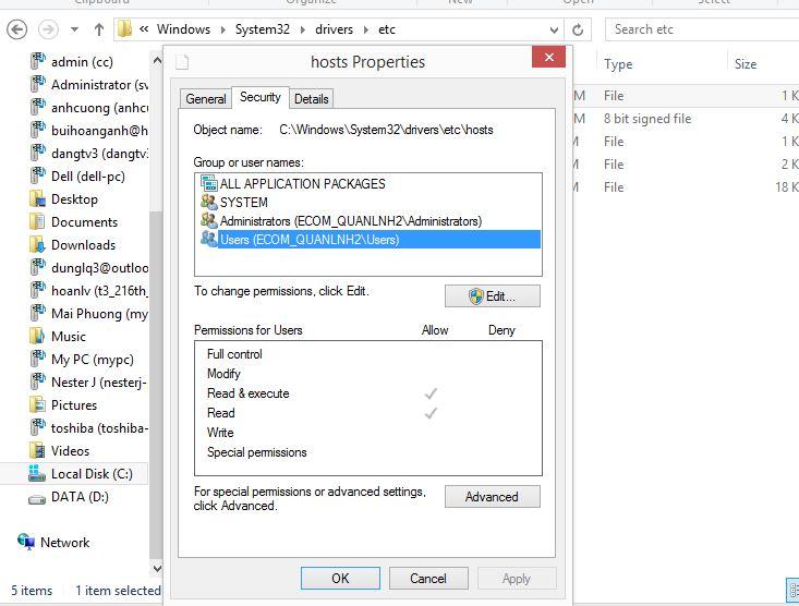 Sửa lỗi không lưu được file host vào Facebook trên Windows 7/8