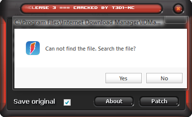"Dòng thông báo ""can not find the file, Search the file?"" hiện ra => chọn ""Yes""."