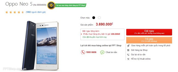 Giá của Oppo Neo 5 tại FPTShop.