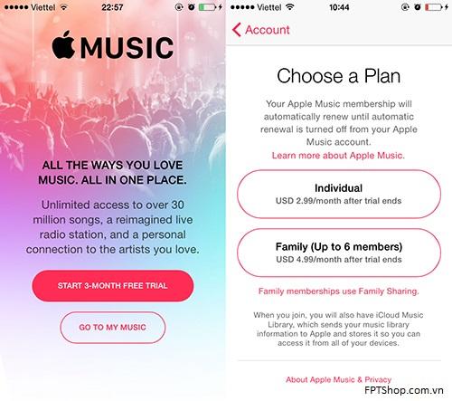 Giao diện đăng ký dịch vụ nghe nhạc trực tuyến Apple Music với gói cước cá nhân và gói cước gia đình tại Việt Nam