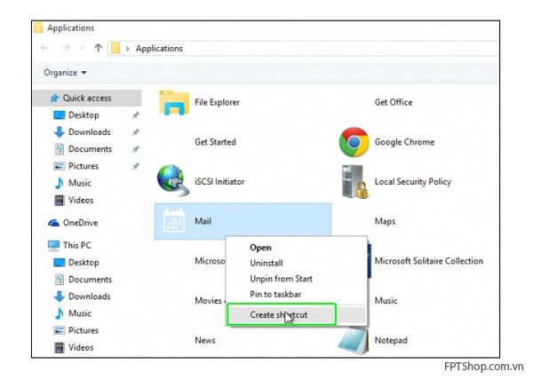 Tạo một Desktop Shortcut trên  Windows 10
