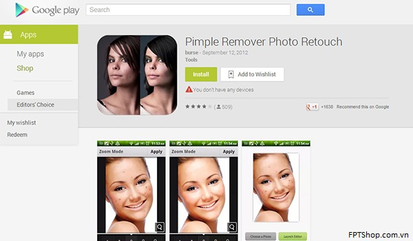 Ứng dụng Pimple Remover Photo Retouch