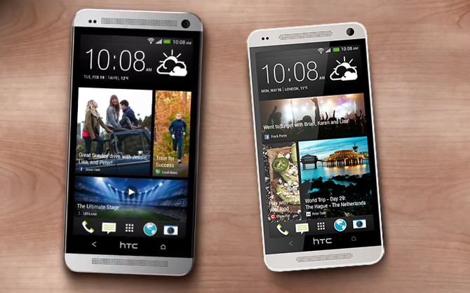 htc one mini 2 bên cạnh htc one m8