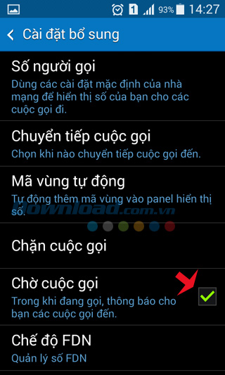 Kích hoạt chế độ cuộc gọi chờ trên điện thọa Android