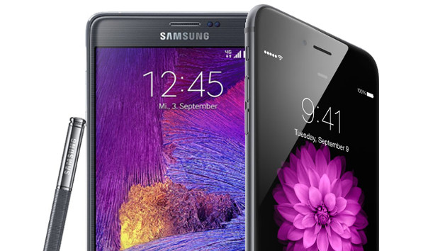 Samsung Galaxy Note 4 với iPhone 6 Plus