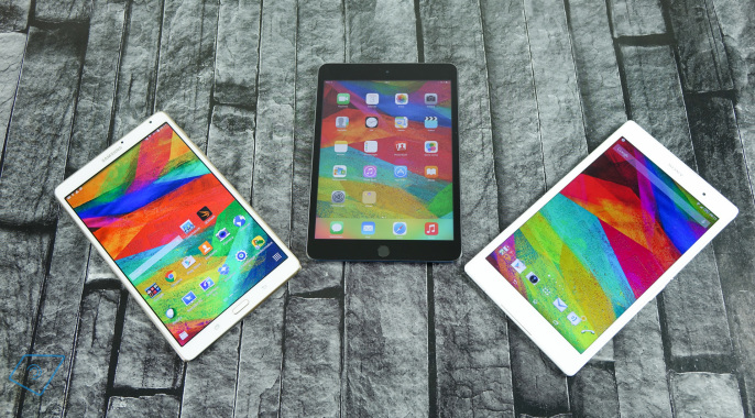 Galaxy Tab S 8.4, Xperia Z3 Tablet Compact và iPad Mini 3