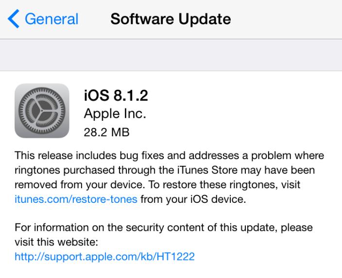 Cập nhật bán vá lỗi iOS 8.1.2