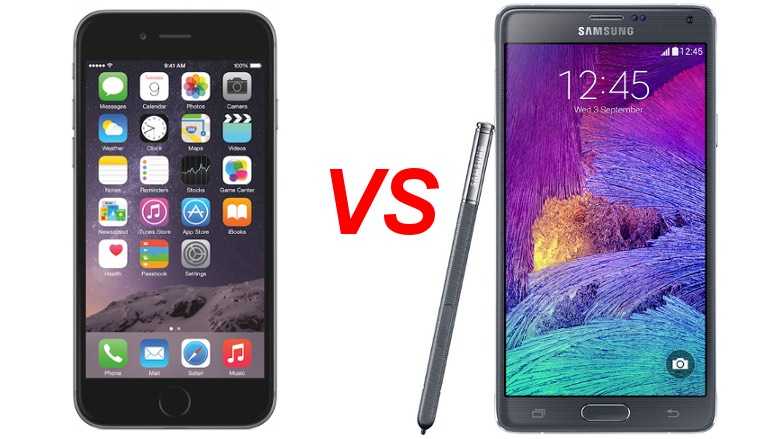 Samsung Galaxy Note 4 và iPhone 6 Plus