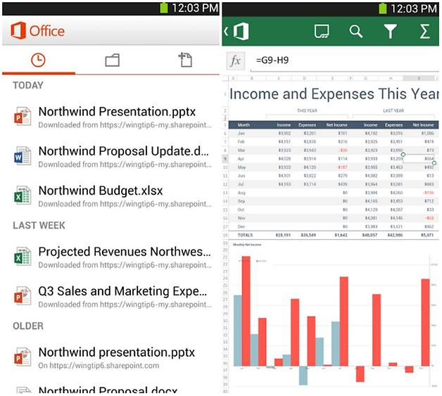 Giao diện Microsoft Office Mobile