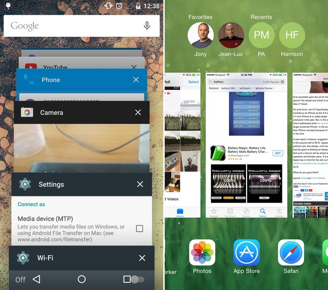iOS 8 và Android 5.0