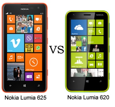 Nokia Lumia 620 vs Nokia Lumia 625