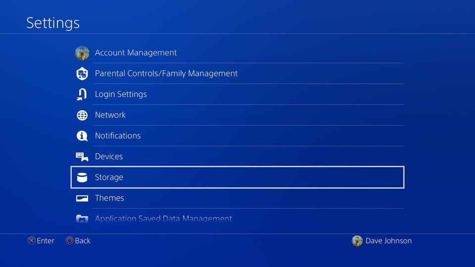 Xóa game PS4 từ System Storage