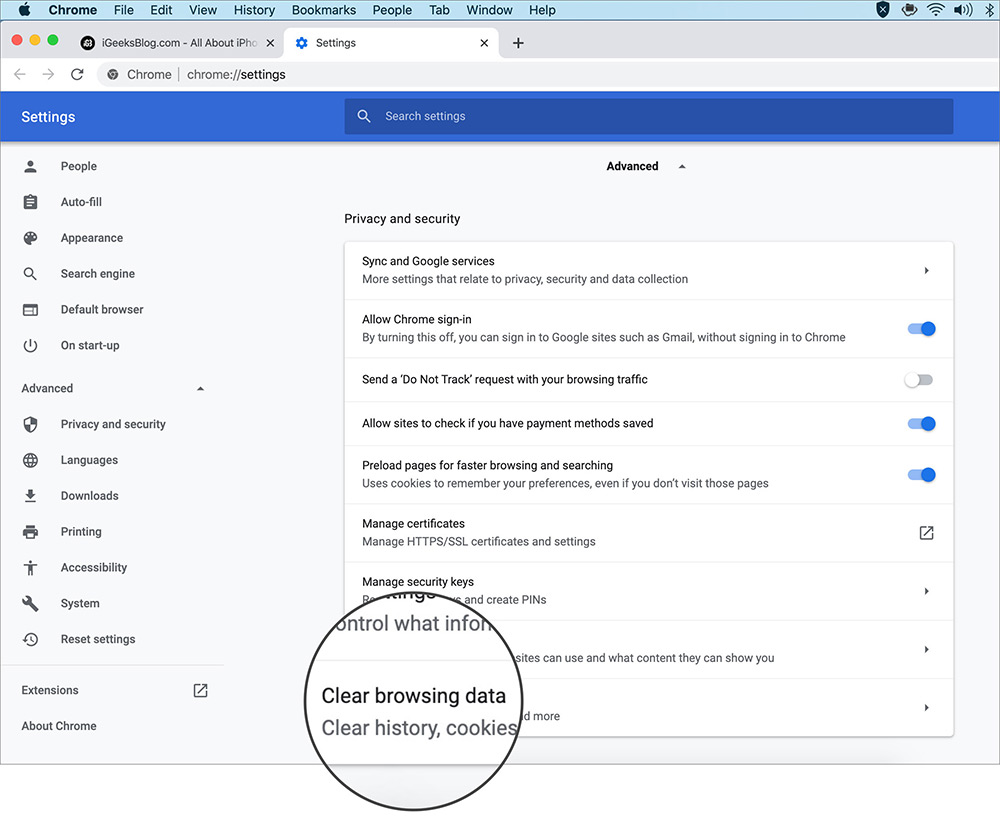 clear Chrome macOS browsing data
