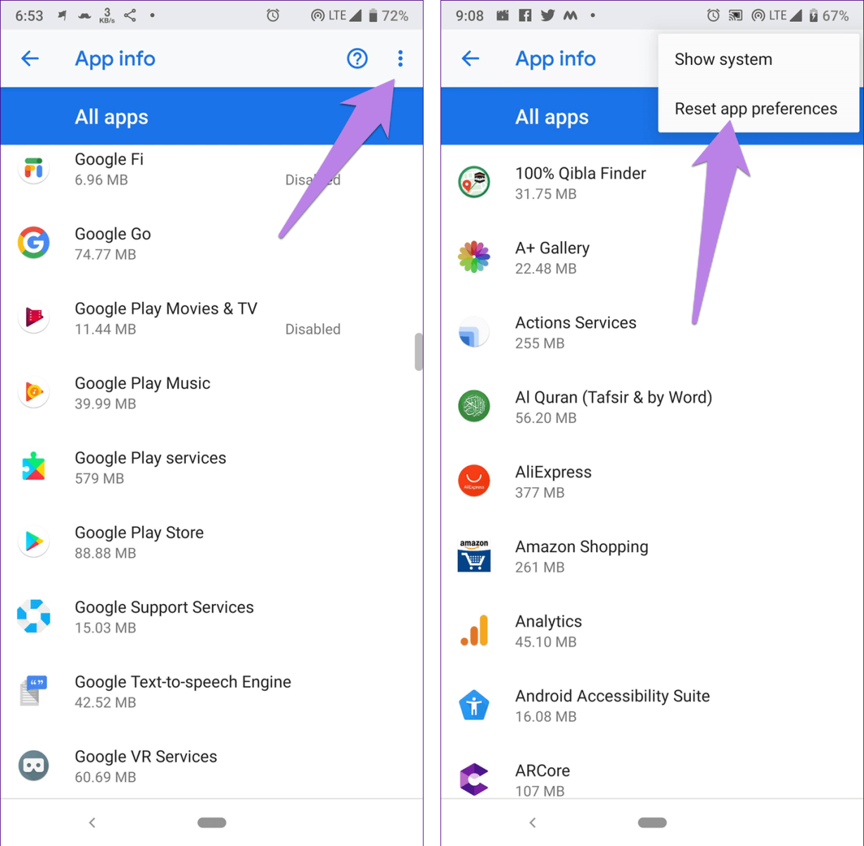 Reset app preferences