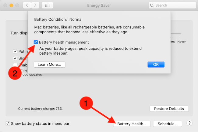"""Bỏ chọn """"Battery Health Management""""."""