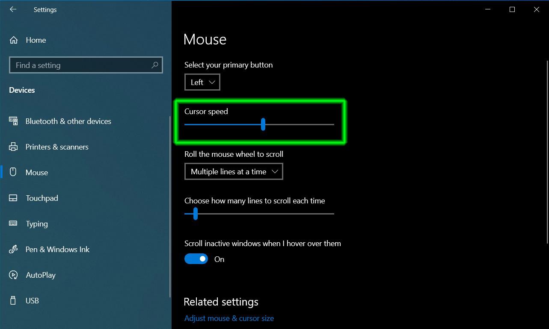 cách chỉnh tốc độ chuột Windows 10 04