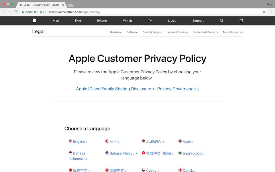 Truy cập vào trang hỗ trợ của Apple liên quan đến các quyền riêng tư.