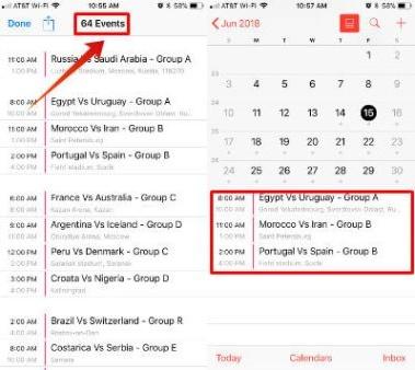Đồng bộ hoá lịch World Cup 2018 trên iPhone: